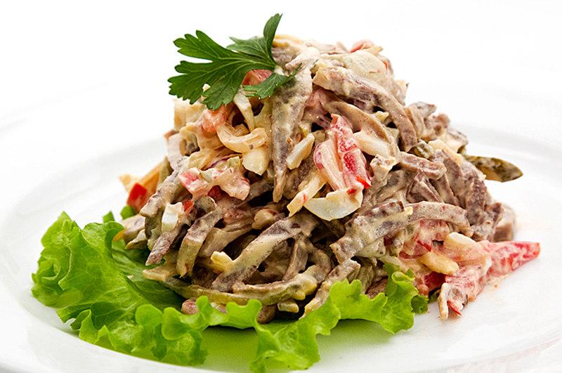 салаты из говяжьего языка рецепты без майонеза