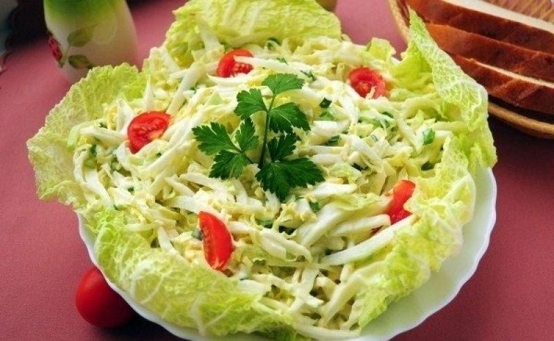 Салат лосось капуста пекинская